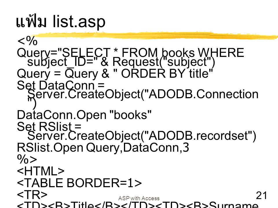 21 ASP with Access แฟ้ม list.asp <% Query=