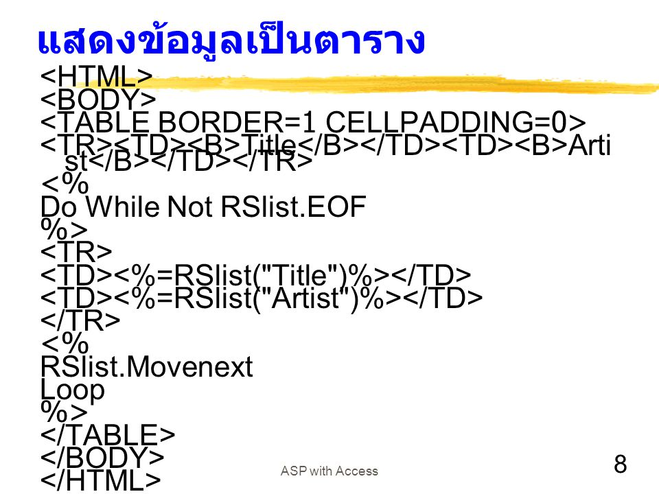 8 ASP with Access แสดงข้อมูลเป็นตาราง Title Arti st <% Do While Not RSlist.EOF %> <% RSlist.Movenext Loop %>