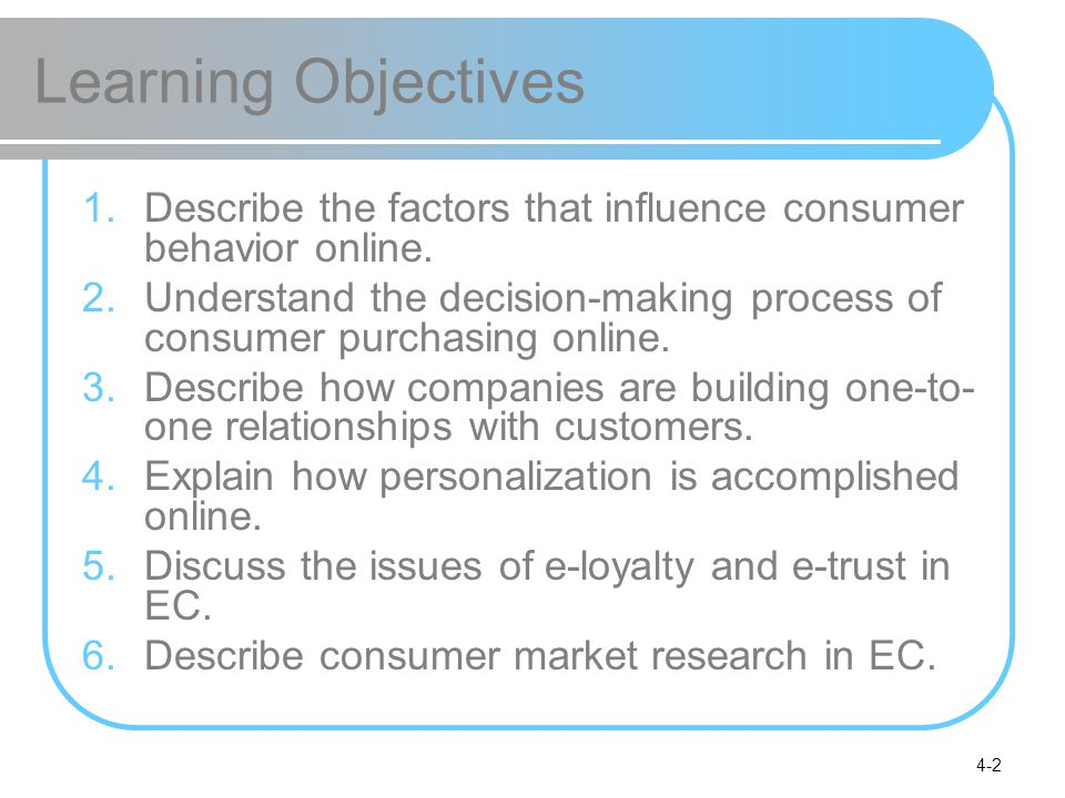 4-2 Learning Objectives 1.Describe the factors that influence consumer behavior online. 2.Understand the decision-making process of consumer purchasin