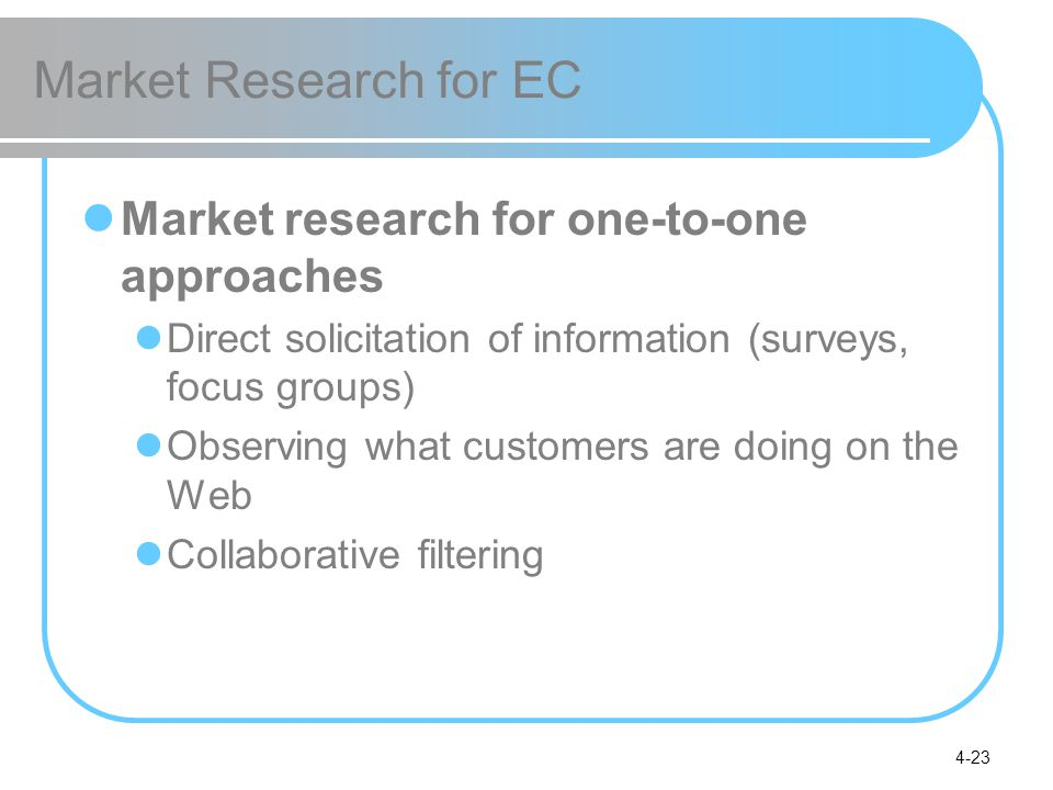 4-23 Market Research for EC Market research for one-to-one approaches Direct solicitation of information (surveys, focus groups) Observing what custom