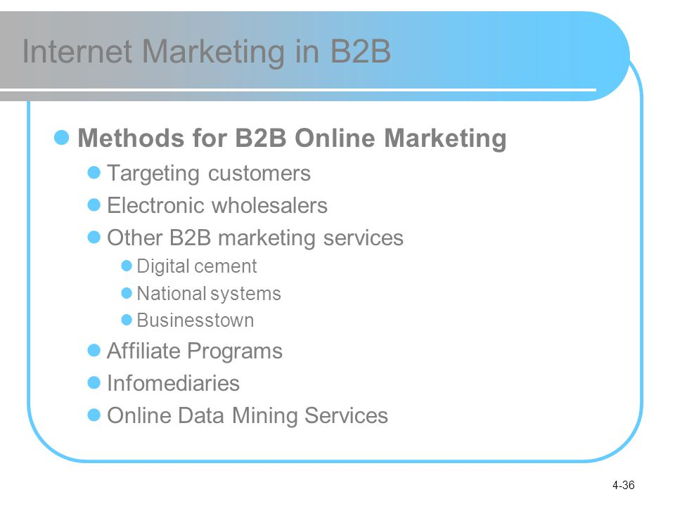 4-36 Internet Marketing in B2B Methods for B2B Online Marketing Targeting customers Electronic wholesalers Other B2B marketing services Digital cement