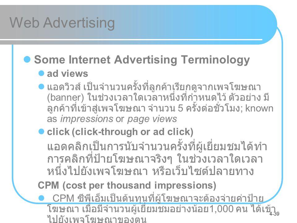 4-39 Web Advertising Some Internet Advertising Terminology ad views แอดวิวส์ เป็นจำนวนครั้งที่ลูกค้าเรียกดูจากเพจโฆษณา (banner) ในช่วงเวลาใดเวลาหนึ่งท