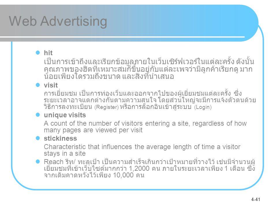 4-41 Web Advertising hit เป็นการเข้าถึงและเรียกข้อมูลภายในเว็บเซิร์ฟเวอร์ในแต่ละครั้ง ดังนั้น คุณภาพของฮิตที่เหมาะสมก็ขึ้นอยู่กับแต่ละเพจว่ามีลูกค้าเร