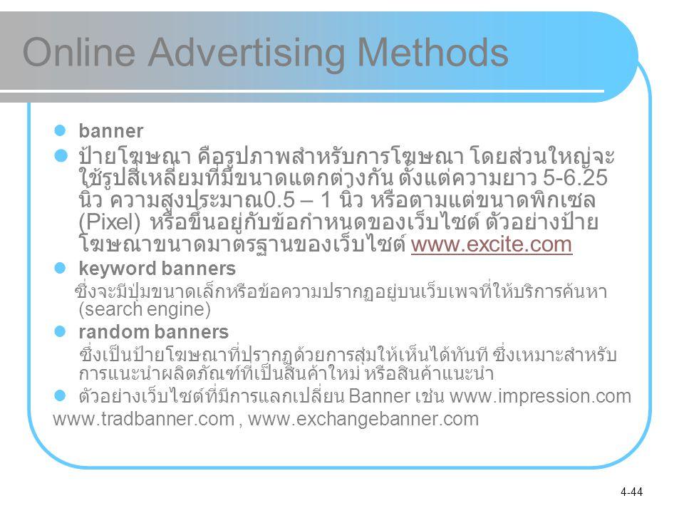 4-44 Online Advertising Methods banner ป้ายโฆษณา คือรูปภาพสำหรับการโฆษณา โดยส่วนใหญ่จะ ใช้รูปสี่เหลี่ยมที่มีขนาดแตกต่างกัน ตั้งแต่ความยาว 5-6.25 นิ้ว