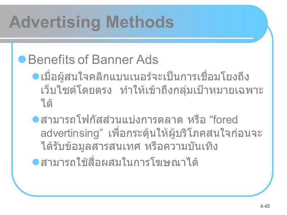 4-45 Advertising Methods Benefits of Banner Ads เมื่อผู้สนใจคลิกแบนเนอร์จะเป็นการเชื่อมโยงถึง เว็บไซต์โดยตรง ทำให้เข้าถึงกลุ่มเป้าหมายเฉพาะ ได้ สามารถ