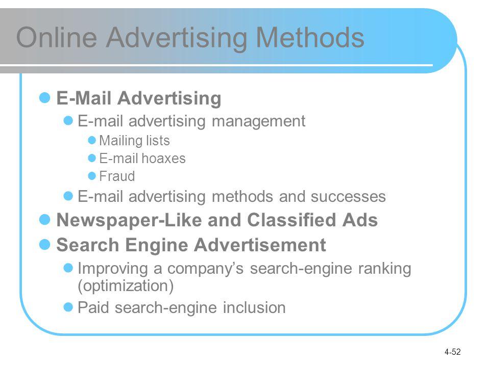 4-52 Online Advertising Methods E-Mail Advertising E-mail advertising management Mailing lists E-mail hoaxes Fraud E-mail advertising methods and succ