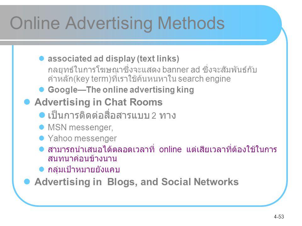 4-53 Online Advertising Methods associated ad display (text links) กลยุทธ์ในการโฆษณาซึ่งจะแสดง banner ad ซึ่งจะสัมพันธ์กับ คำหลัก (key term) ที่เราใช้