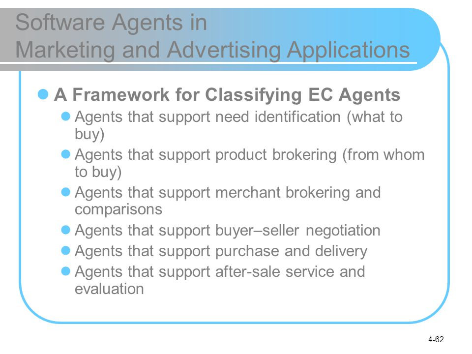 4-62 Software Agents in Marketing and Advertising Applications A Framework for Classifying EC Agents Agents that support need identification (what to