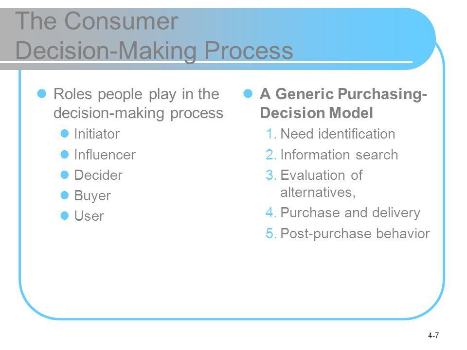 4-7 The Consumer Decision-Making Process Roles people play in the decision-making process Initiator Influencer Decider Buyer User A Generic Purchasing