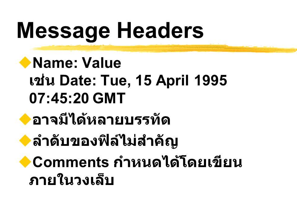 Message Headers  Name: Value เช่น Date: Tue, 15 April 1995 07:45:20 GMT  อาจมีได้หลายบรรทัด  ลำดับของฟิล์ไม่สำคัญ  Comments กำหนดได้โดยเขียน ภายใน