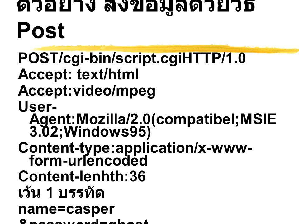 ตัวอย่าง ส่งข้อมูลด้วยวิธี Post POST/cgi-bin/script.cgiHTTP/1.0 Accept: text/html Accept:video/mpeg User- Agent:Mozilla/2.0(compatibel;MSIE 3.02;Windo