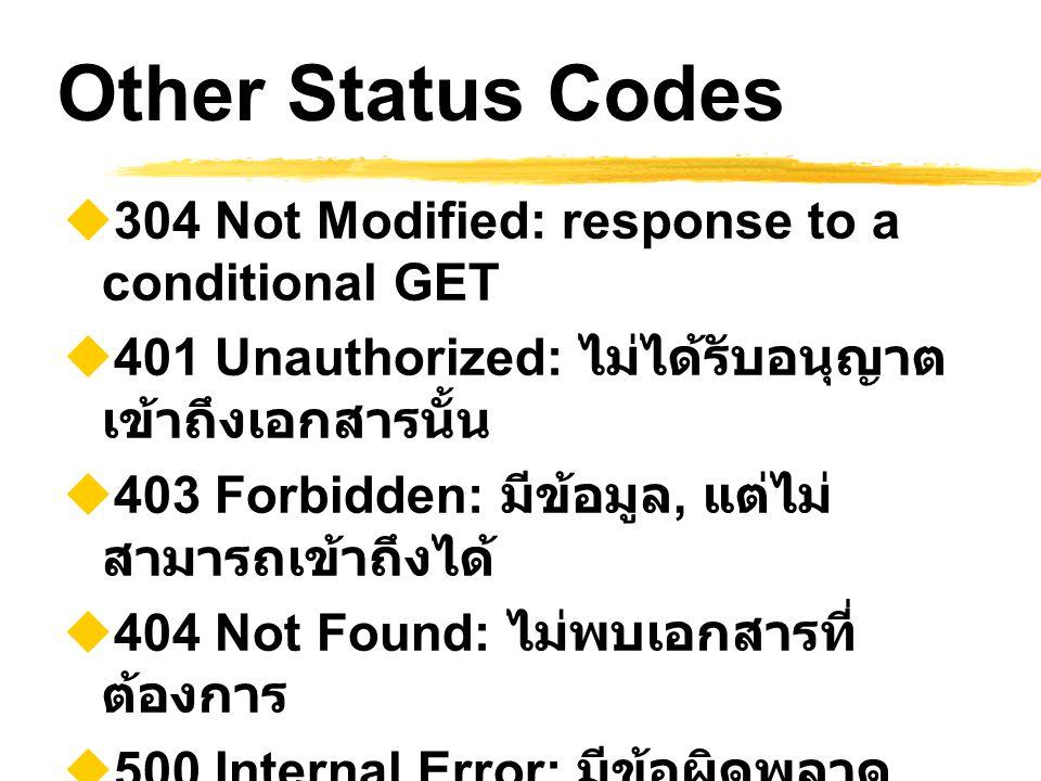Other Status Codes  304 Not Modified: response to a conditional GET  401 Unauthorized: ไม่ได้รับอนุญาต เข้าถึงเอกสารนั้น  403 Forbidden: มีข้อมูล,
