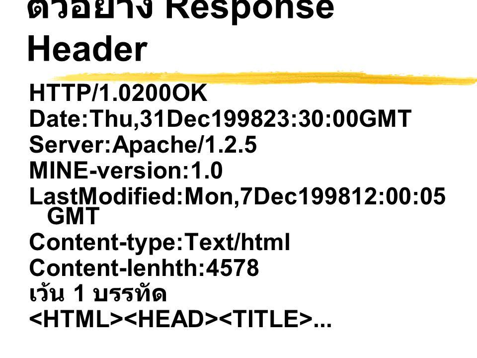 ตัวอย่าง Response Header HTTP/1.0200OK Date:Thu,31Dec199823:30:00GMT Server:Apache/1.2.5 MINE-version:1.0 LastModified:Mon,7Dec199812:00:05 GMT Conten