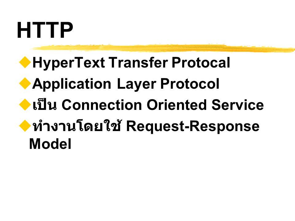 HTTP Versions  HTTP/0.9 เมื่อปี 1990  HTTP/1.0 (RFC 1945) เมื่อปี 1992  MINE ทำให้ส่งข้อมูลแบบสื่อผสมได้  ปัจจุบัน : HTTP/1.1 (RFC 2068)  ปี 1997  อนาคต : HTTP Next Generation