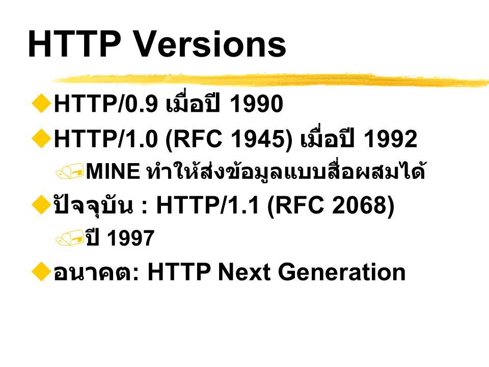 HTTP Versions  HTTP/0.9 เมื่อปี 1990  HTTP/1.0 (RFC 1945) เมื่อปี 1992  MINE ทำให้ส่งข้อมูลแบบสื่อผสมได้  ปัจจุบัน : HTTP/1.1 (RFC 2068)  ปี 1997