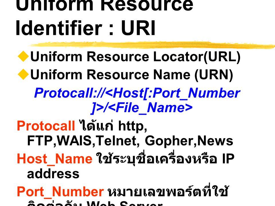 Uniform Resource Identifier : URI  Uniform Resource Locator(URL)  Uniform Resource Name (URN) Protocall:// / Protocall ได้แก่ http, FTP,WAIS,Telnet,
