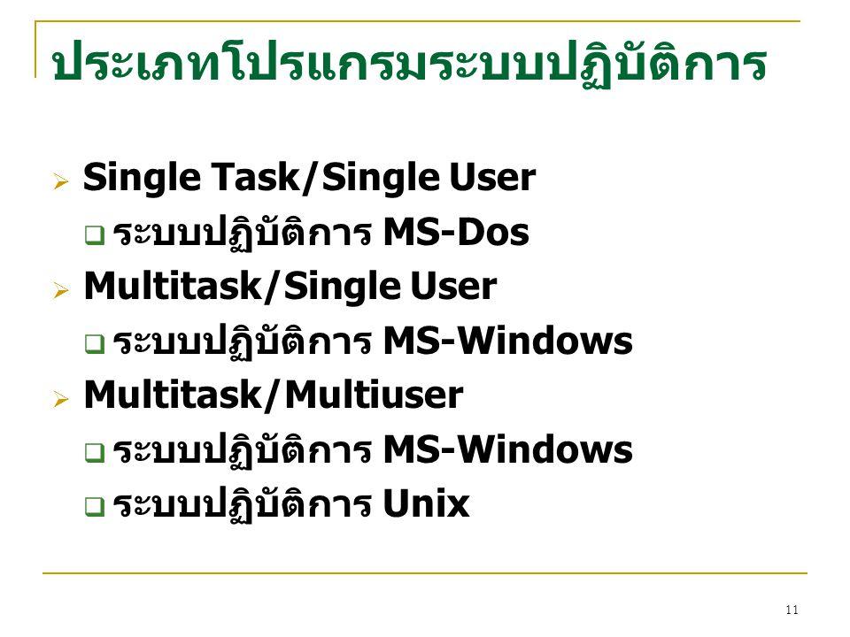 11 ประเภทโปรแกรมระบบปฏิบัติการ  Single Task/Single User  ระบบปฏิบัติการ MS-Dos  Multitask/Single User  ระบบปฏิบัติการ MS-Windows  Multitask/Multi