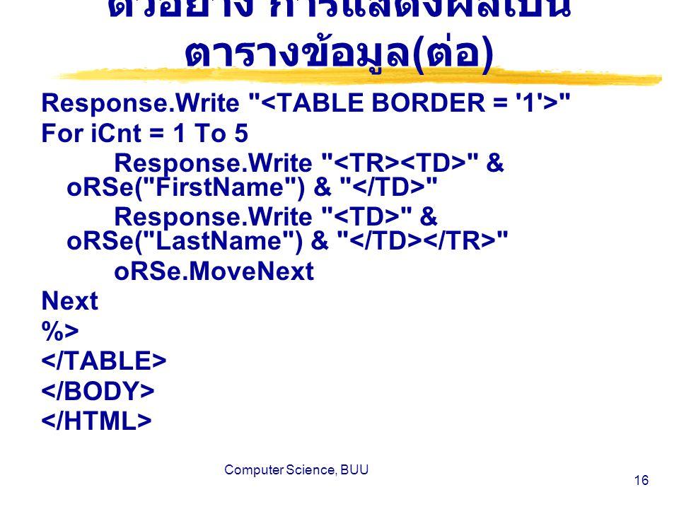 Computer Science, BUU 16 ตัวอย่าง การแสดงผลเป็น ตารางข้อมูล ( ต่อ ) Response.Write For iCnt = 1 To 5 Response.Write & oRSe( FirstName ) & Response.Write & oRSe( LastName ) & oRSe.MoveNext Next %>