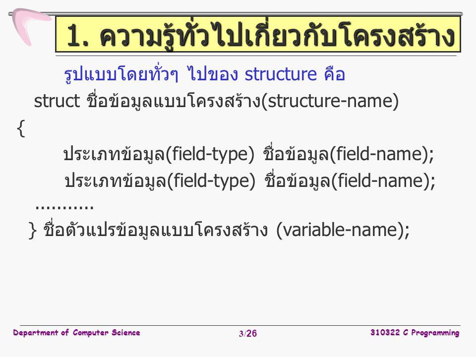 Department of Computer Science310322 C Programming 24/26 การเรียกใช้งานฟังก์ชัน struct rect screen; struct point middle; struct point makepoint ( int, int ); screen.pt1 = makepoint ( 0, 0 ); screen.pt2 = makepoint ( XMAX, YMAX ); middle = makepoint ((screen.pt1.x + screen.pt2.x) / 2, (screen.pt1.y + screen.pt2.y) / 2 );