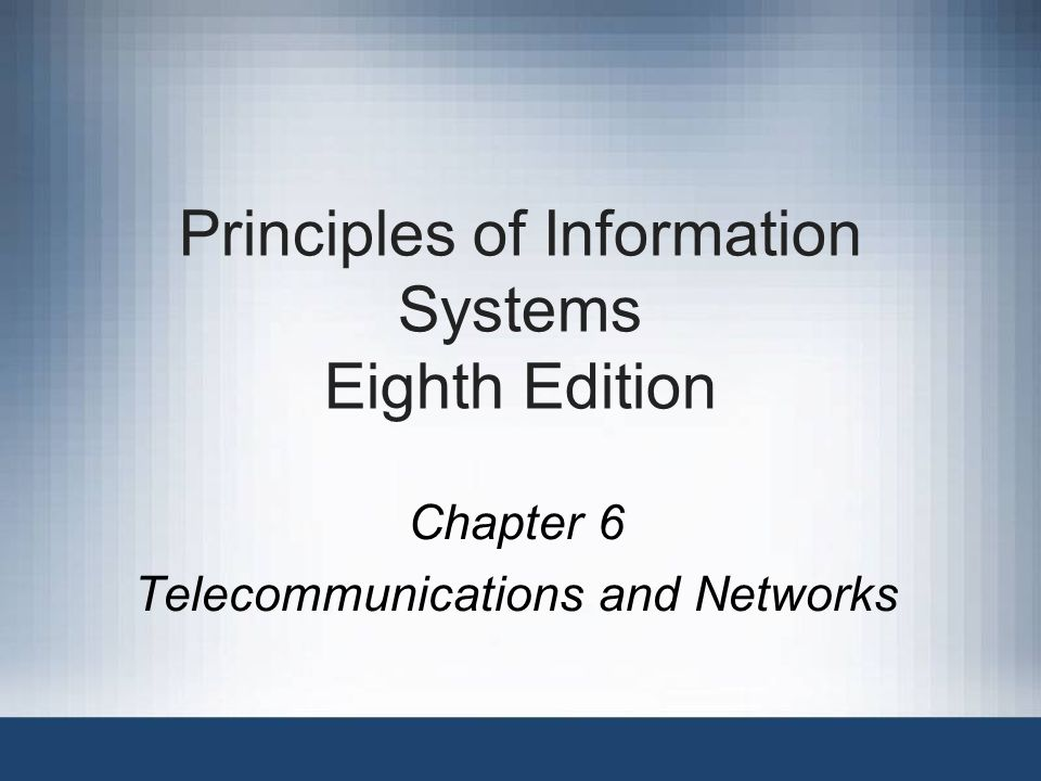 Principles of Information Systems, Eighth Edition42 Public Network Services Give personal computer users access to vast databases, the Internet, and other services –Usually an initial fee plus usage fees –Fees are based on services used; can range from under $15 to over $500 per month Providers of public network services include Microsoft, America Online, and Prodigy