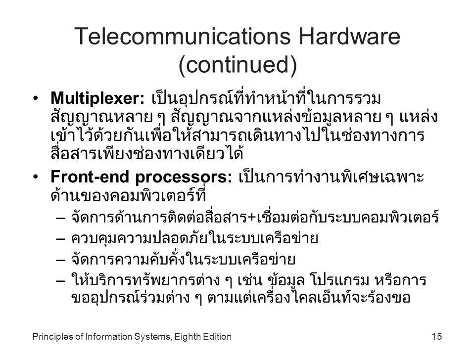 Principles of Information Systems, Eighth Edition15 Telecommunications Hardware (continued) Multiplexer: เป็นอุปกรณ์ที่ทำหน้าที่ในการรวม สัญญาณหลาย ๆ