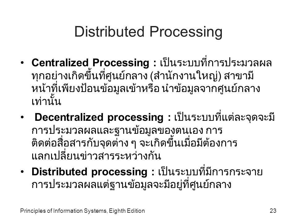Principles of Information Systems, Eighth Edition23 Distributed Processing Centralized Processing : เป็นระบบที่การประมวลผล ทุกอย่างเกิดขึ้นที่ศูนย์กลา