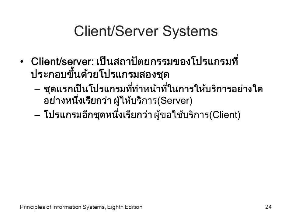Principles of Information Systems, Eighth Edition24 Client/Server Systems Client/server: เป็นสถาปัตยกรรมของโปรแกรมที่ ประกอบขึ้นด้วยโปรแกรมสองชุด – ชุ