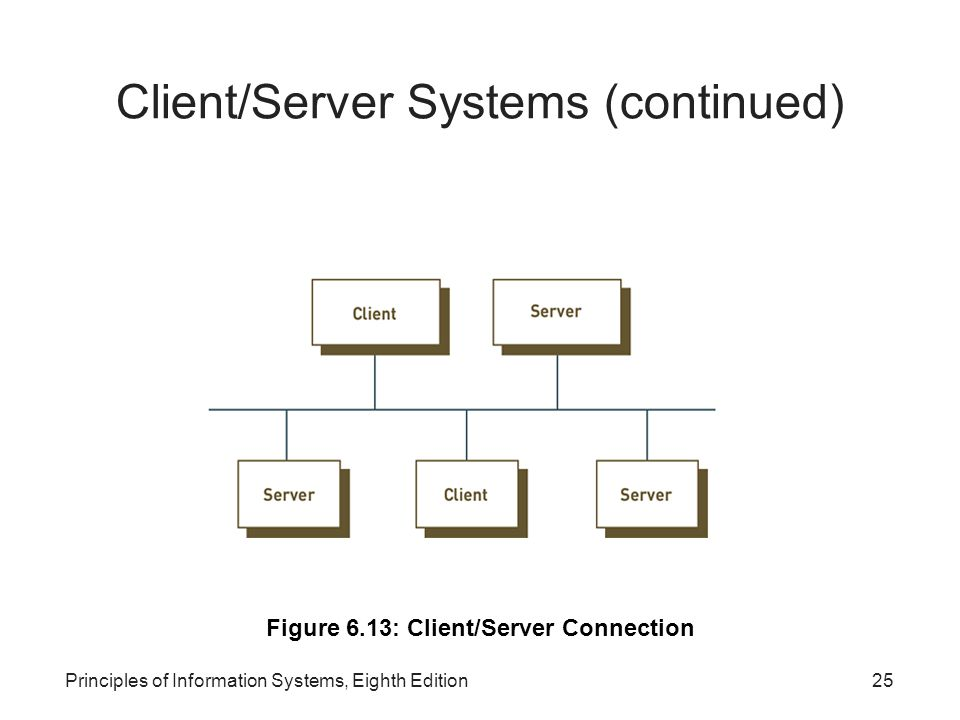 Principles of Information Systems, Eighth Edition25 Client/Server Systems (continued) Figure 6.13: Client/Server Connection