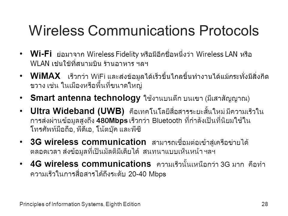 Principles of Information Systems, Eighth Edition28 Wireless Communications Protocols Wi-Fi ย่อมาจาก Wireless Fidelity หรือมีอีกชื่อหนึ่งว่า Wireless