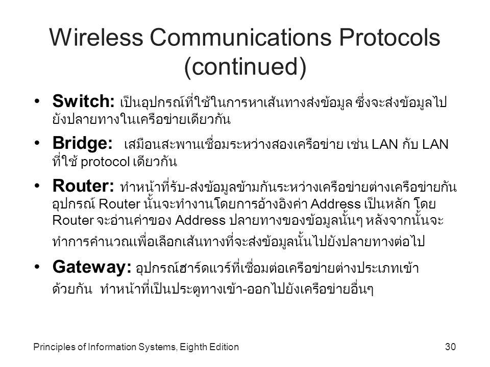 Principles of Information Systems, Eighth Edition30 Wireless Communications Protocols (continued) Switch: เป็นอุปกรณ์ที่ใช้ในการหาเส้นทางส่งข้อมูล ซึ