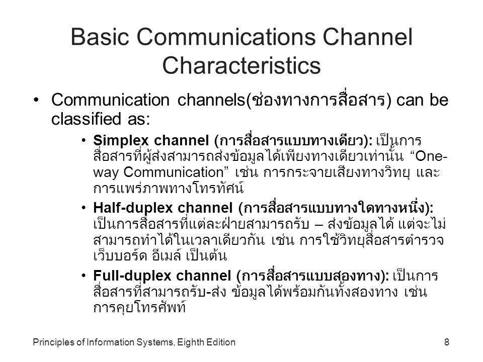 Principles of Information Systems, Eighth Edition9 Channel Bandwidth Channel bandwidth: อัตราการรับส่งข้อมูลที่สามารถเกิดขึ้นได้ บน ช่องสัญญาณสื่อสาร – ใช้หน่วยวัดเป็น bits per second (bps) Broadband communications: ( การสื่อสารแบบแถบความถี่กว้าง ) เป็นช่องสัญญาณสื่อสารข้อมูลที่มีความสามารถในการส่งข้อมูล ปริมาณมากและส่งข้อมูลแบบดิจิทัลด้วยอัตราการส่งข้อมูลความเร็วสูง และสามารถให้บริการสื่อสารข้อมูลได้หลายรูปแบบ เช่นทั้งภาพและ เสียงพร้อมกัน - ระบบการสื่อสารที่มีความเร็วสูง รับปริมาณการสื่อสารได้ มากมายหลาย ๆ ช่องสัญญาณ Narrowband communications: telecommunications system that supports a much lower rate of data exchange than broadband