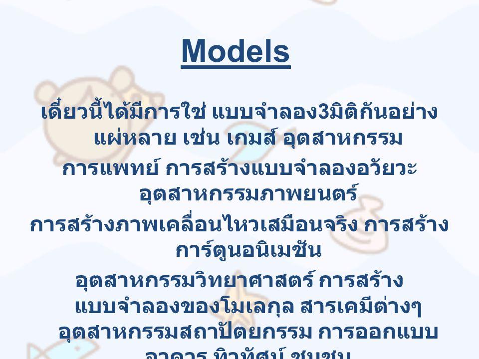 Models เดี๋ยวนี้ได้มีการใช่ แบบจำลอง 3 มิติกันอย่าง แผ่หลาย เช่น เกมส์ อุตสาหกรรม การแพทย์ การสร้างแบบจำลองอวัยวะ อุตสาหกรรมภาพยนตร์ การสร้างภาพเคลื่อนไหวเสมือนจริง การสร้าง การ์ตูนอนิเมชัน อุตสาหกรรมวิทยาศาสตร์ การสร้าง แบบจำลองของโมเลกุล สารเคมีต่างๆ อุตสาหกรรมสถาปัตยกรรม การออกแบบ อาคาร ทิวทัศน์ ชุมชน ทางวิศวกรรม การสร้างยานพาหนะ ทาง ธรณีวิทยา การจำลองการเกิดพายุ คลื่นสึนามิ