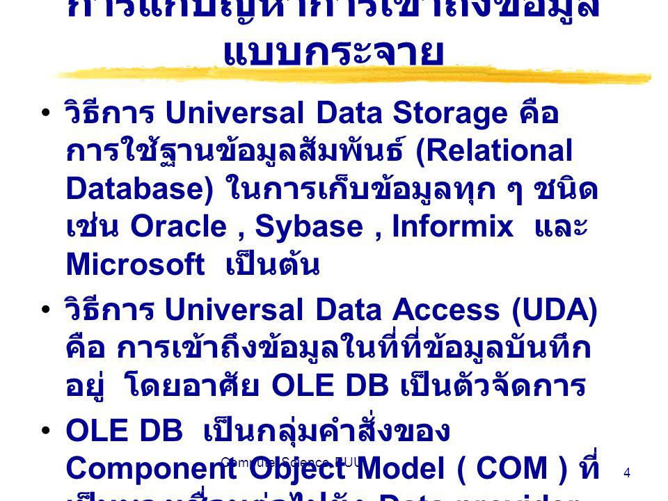 Computer Science, BUU 15 ตัวอย่าง การแสดงผลเป็น ตารางข้อมูล การแสดงผลข้อมูลของ 5 เรคอร์ดแรกโดย ใช้ตาราง การแสดงผลข้อมูลของ 5 เรคอร์ดแรกโดยใช้ ตาราง <% Dim oRSe, iCnt Set oRSe = Server.CreateObject( ADODB.recordset ) oRSe.Open Employees , DSN=Northwind oRSe.MoveFirst