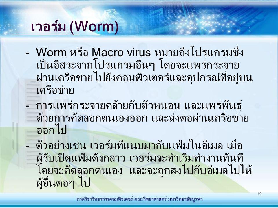 14 เวอร์ม (Worm) - Worm หรือ Macro virus หมายถึงโปรแกรมซึ่ง เป็นอิสระจากโปรแกรมอื่นๆ โดยจะแพร่กระจาย ผ่านเครือข่ายไปยังคอมพิวเตอร์และอุปกรณ์ที่อยู่บน