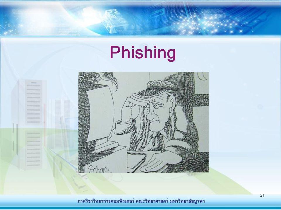 22 Phishing คืออะไร - คือการหลอกลวงทางอินเทอร์เน็ต โดยส่งอีเมล์ติ ไปยังผู้ใช้อินเตอร์เน็ต โดยหลอกให้ผู้ใช้เข้าใจว่า เป็นจดหมายจากองค์กร หรือบริษัท ห้างร้านที่ ผู้ใช้ทำการติดต่อ หรือเป็นสมาชิกอยู่ - เนื้อหาจดหมายอาจเป็นข้อความหลอกให้ผู้ใช้ กรอกข้อมูลส่วนตัว ซึ่งเป็นความลับ และมี ความสำคัญ