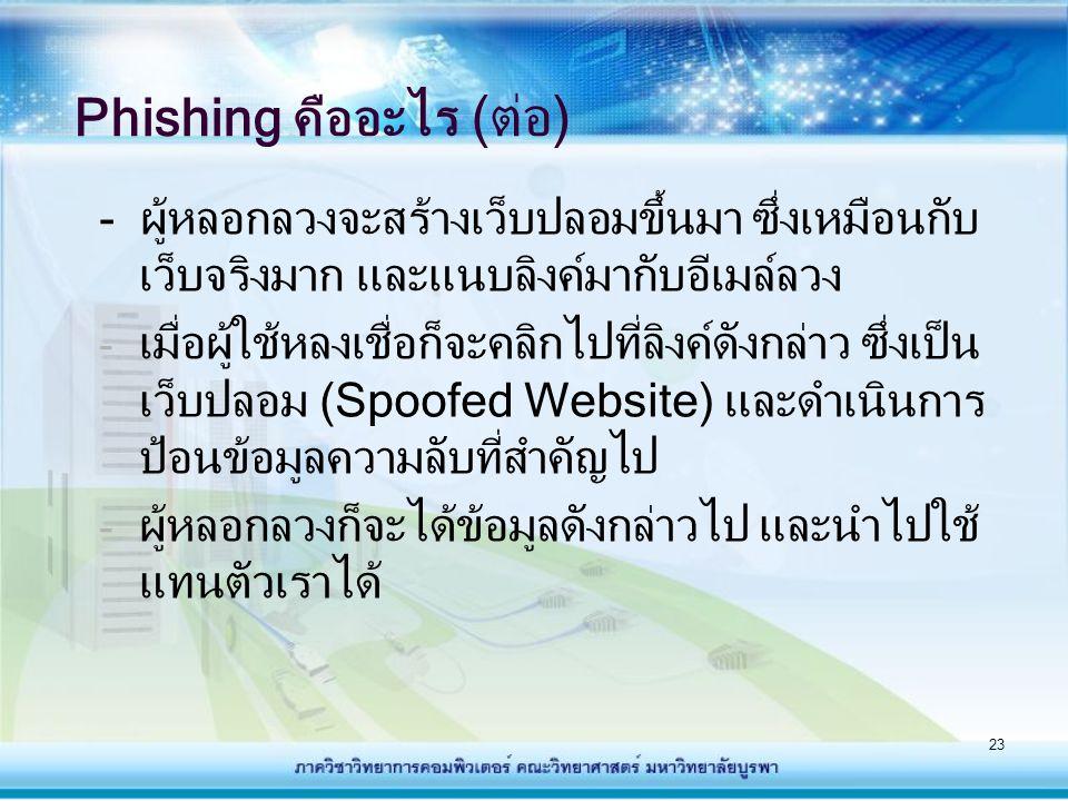 24 ตัวอย่าง Web ปลอมที่ให้ผู้ใช้กรอกข้อมูลส่วนตัว กรณีตัวอย่างการหลอกลวงลูกค้า Citibank สามารถดูเพิ่มเติมได้ที่ http://www.thaicert.nectec.or.th/paper/basic/phishing.php