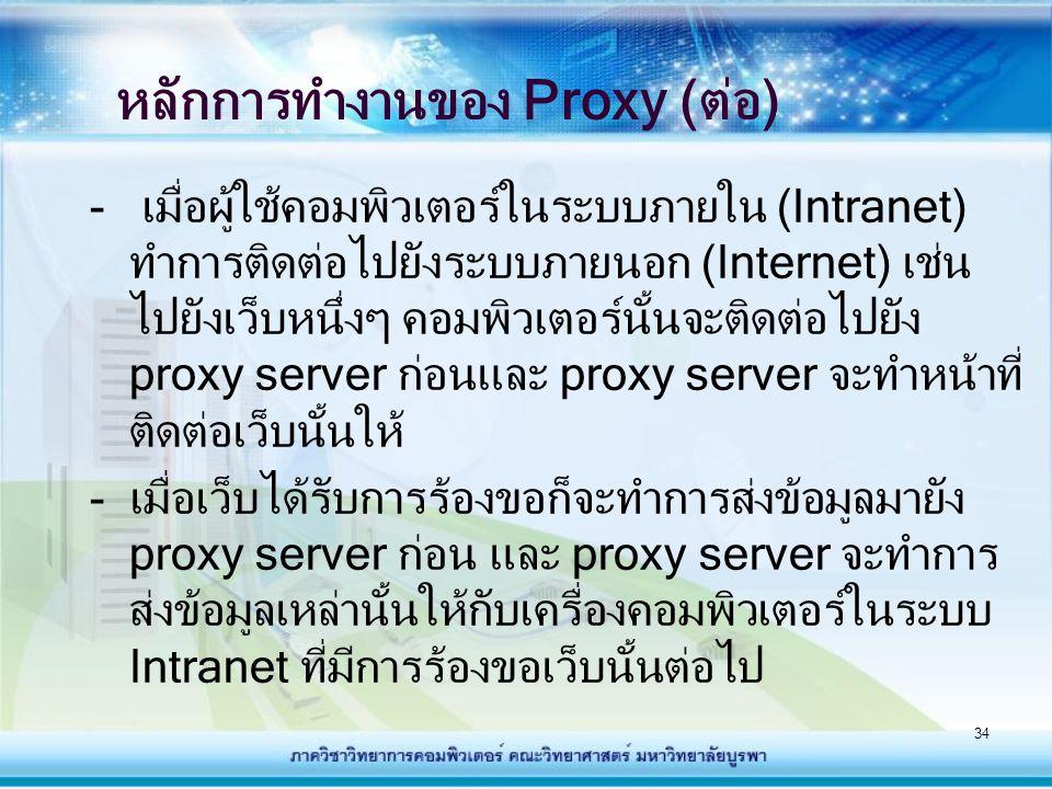 35 ประโยชน์ของ Proxy - Proxy server สามารถถูกใช้เพื่อเก็บข้อมูล เหตุการณ์การใช้งานระหว่างเน็ตเวิร์กภายใน และรับส่งข้อมูลระอินเทอร์เน็ต เช่น URL วัน เวลาที่ใช้งาน จำนวนไบต์ที่ดาวน์โหลด - สามารถกำหนดเงื่อนไขให้กับ Proxy server ในการรักษาความปลอดภัยของระบบภายในได้ เช่น การกำหนดให้ระบบภายในดาวน์โหลดไฟล์ จากอินเทอร์เน็ตได้ แต่ไม่อนุญาตให้ระบบ ภายนอกดาวน์โหลดไฟล์จากระบบภายในได้ - Proxy server สามารถช่วยเพิ่มความเร็วได้ โดยการสร้างแคชข้อมูลเว็บที่เคยถูกร้องขอ