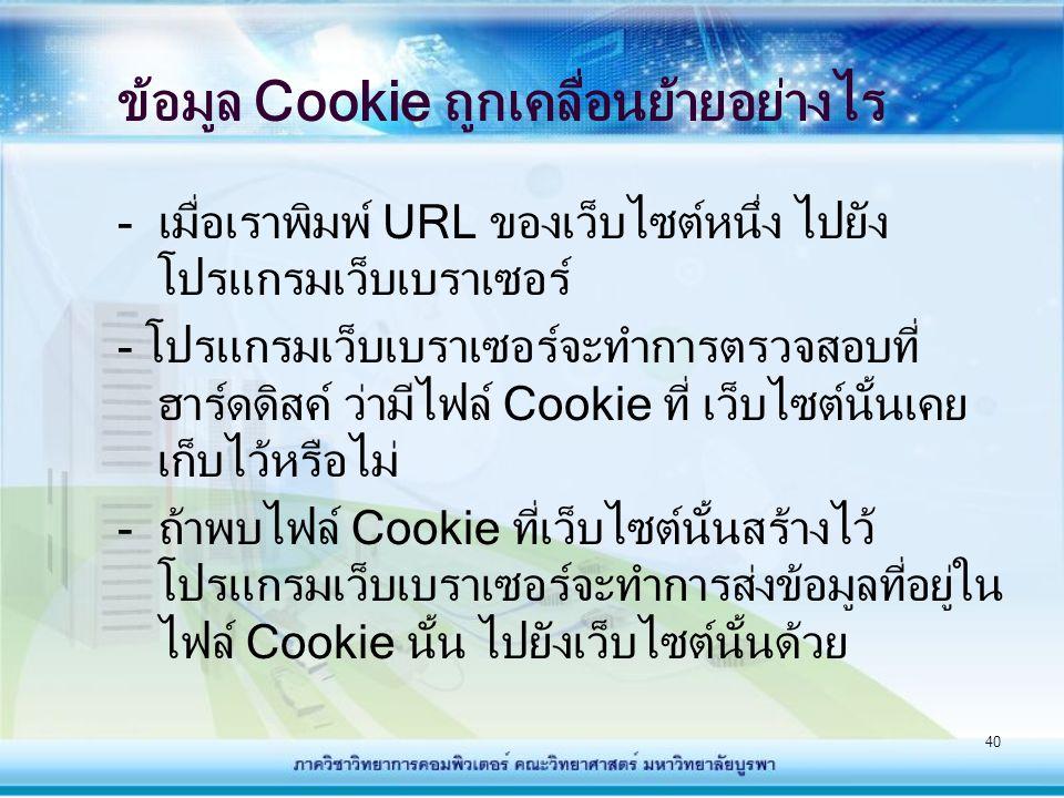 41 ข้อมูล Cookie ถูกเคลื่อนย้ายอย่างไร (ต่อ) - ถ้าหากไม่มีไฟล์ Cookie ส่งไปให้กับเว็บไซต์ เว็บไซต์นั้นก็จะทราบว่าผู้ใช้พึ่งเคยเข้ามาใช้งาน เว็บไซต์เป็นครั้งแรก เว็บไซต์ก็จะสร้าง Cookie แล้วส่งมาเก็บไว้ที่ฮาร์ดดิสค์ของผู้ใช้ - ในการเข้าใช้งานเว็บไซต์ครั้งต่อๆไป เว็บไซต์ก็ สามารถที่จะทำการเพิ่มเติมข้อมูลเปลี่ยนแปลง แก้ไขข้อมูลในไฟล์ Cookie นี้ได้