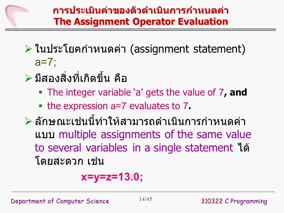14/45 การประเมินค่าของตัวดำเนินการกำหนดค่า The Assignment Operator Evaluation  ในประโยคกำหนดค่า (assignment statement) a=7;  มีสองสิ่งที่เกิดขึ้น คื