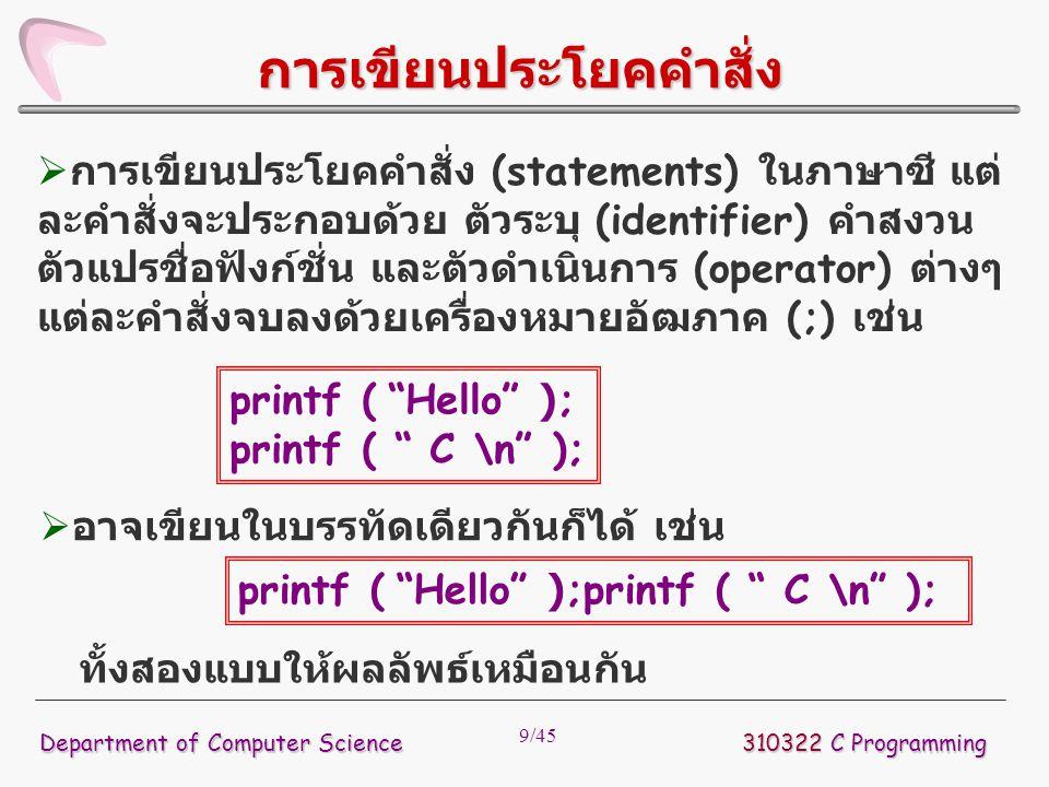 9/45  การเขียนประโยคคำสั่ง (statements) ในภาษาซี แต่ ละคำสั่งจะประกอบด้วย ตัวระบุ (identifier) คำสงวน ตัวแปรชื่อฟังก์ชั่น และตัวดำเนินการ (operator)