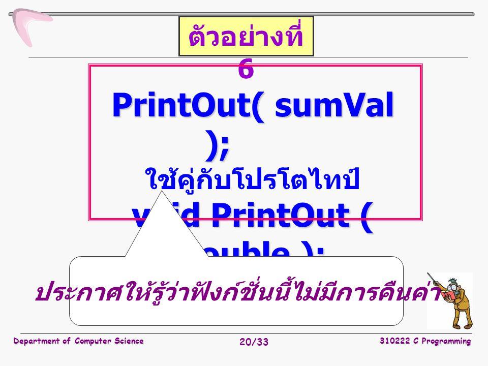 Department of Computer Science310222 C Programming 20/33 PrintOut( sumVal ); ใช้คู่กับโปรโตไทป์ void PrintOut ( double ); ตัวอย่างที่ 6 ประกาศให้รู้ว่