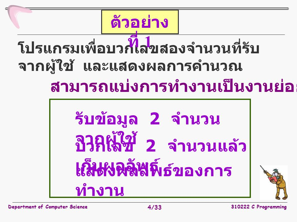 Department of Computer Science310222 C Programming 15/33 void main ( void ) { double a1, a2, sumVal; a1 = InputDouble( ); a2 = InputDouble( ); sumVal = SumDouble ( a1, a2 ); PrintOut ( sumVal ); } ตัวอย่างที่ 3 ( ต่อ )