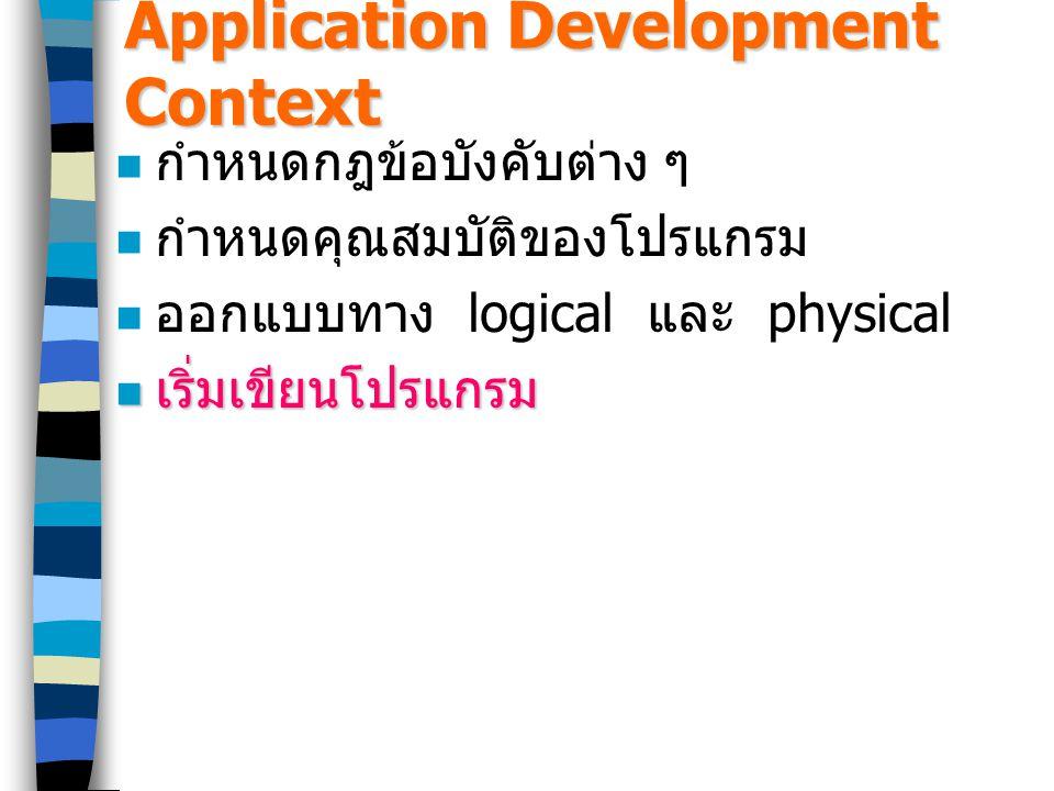 Application Development Context กำหนดกฎข้อบังคับต่าง ๆ กำหนดคุณสมบัติของโปรแกรม ออกแบบทาง logical และ physical เริ่มเขียนโปรแกรม เริ่มเขียนโปรแกรม