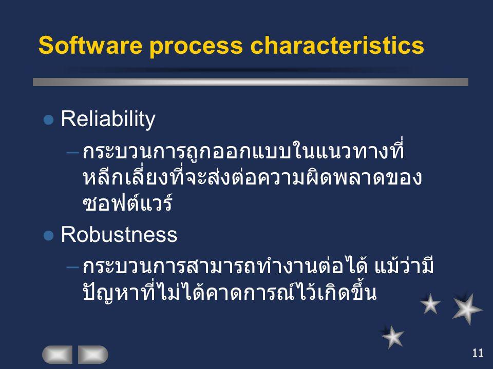 11 Software process characteristics Reliability – กระบวนการถูกออกแบบในแนวทางที่ หลีกเลี่ยงที่จะส่งต่อความผิดพลาดของ ซอฟต์แวร์ Robustness – กระบวนการสา