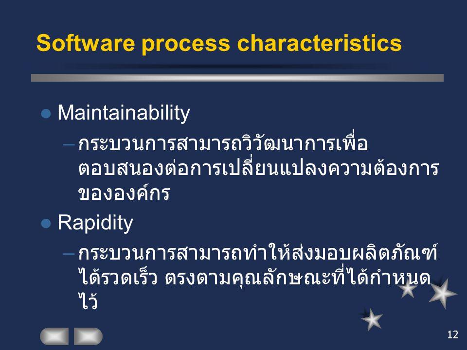 12 Software process characteristics Maintainability – กระบวนการสามารถวิวัฒนาการเพื่อ ตอบสนองต่อการเปลี่ยนแปลงความต้องการ ขององค์กร Rapidity – กระบวนกา