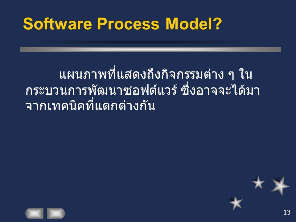 13 Software Process Model? แผนภาพที่แสดงถึงกิจกรรมต่าง ๆ ใน กระบวนการพัฒนาซอฟต์แวร์ ซึ่งอาจจะได้มา จากเทคนิคที่แตกต่างกัน