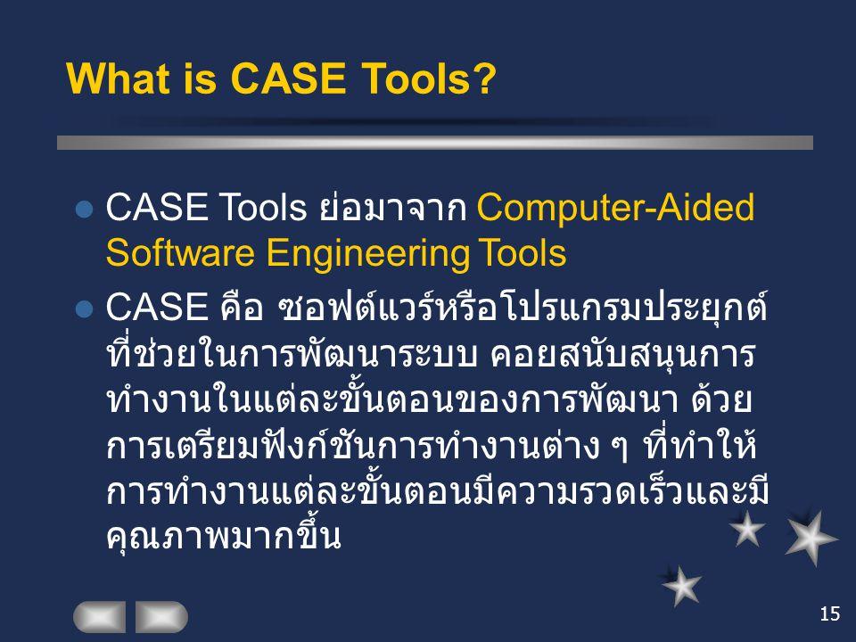 15 What is CASE Tools? CASE Tools ย่อมาจาก Computer-Aided Software Engineering Tools CASE คือ ซอฟต์แวร์หรือโปรแกรมประยุกต์ ที่ช่วยในการพัฒนาระบบ คอยสน