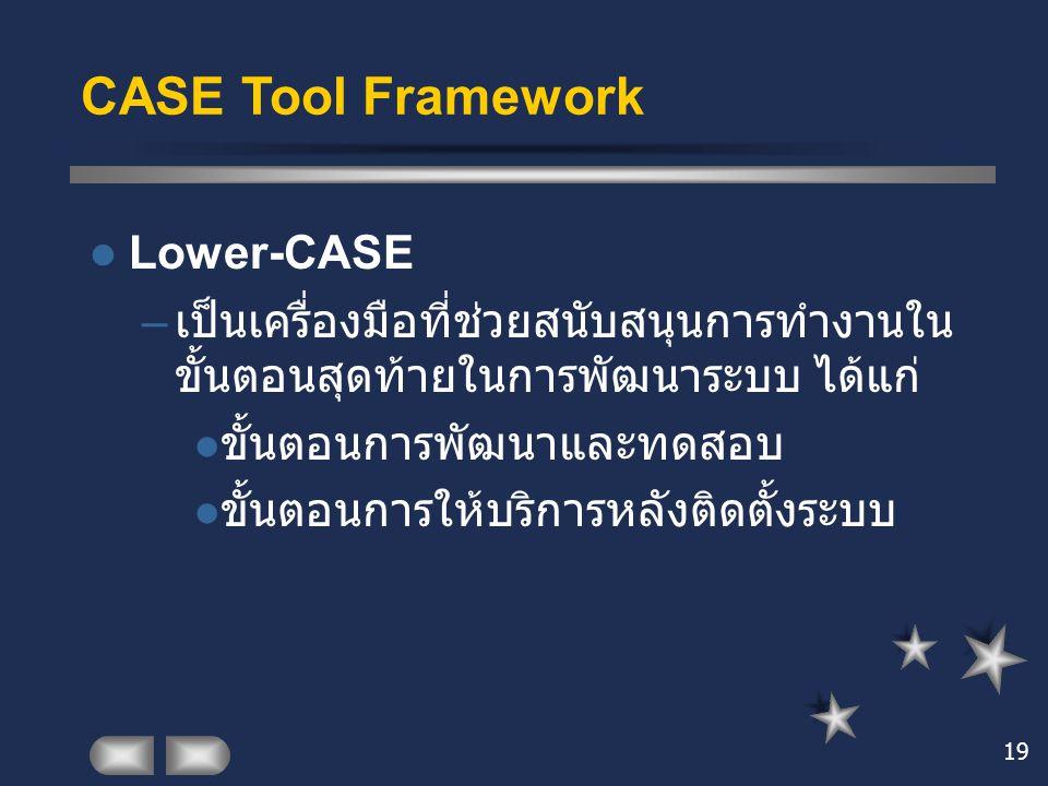 19 CASE Tool Framework Lower-CASE – เป็นเครื่องมือที่ช่วยสนับสนุนการทำงานใน ขั้นตอนสุดท้ายในการพัฒนาระบบ ได้แก่ ขั้นตอนการพัฒนาและทดสอบ ขั้นตอนการให้บ