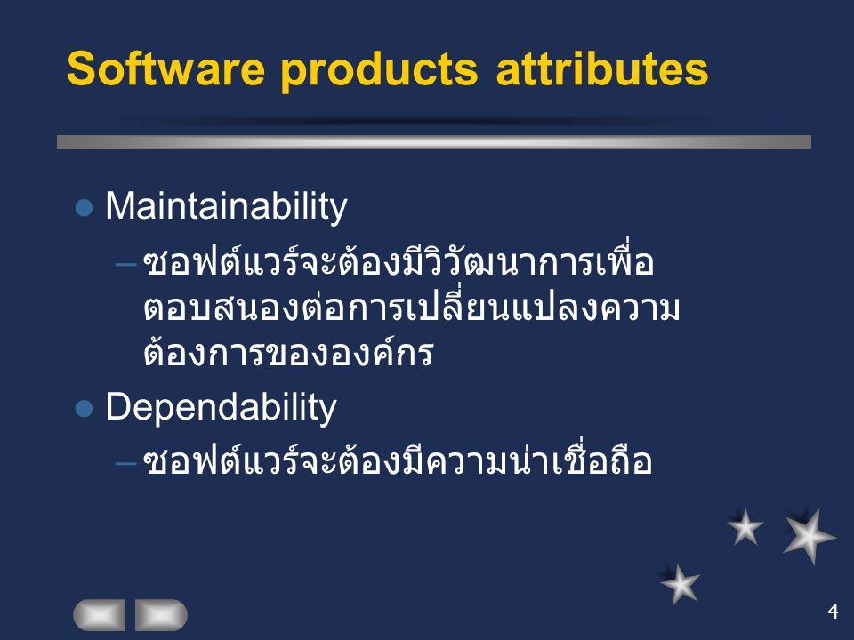 4 Maintainability – ซอฟต์แวร์จะต้องมีวิวัฒนาการเพื่อ ตอบสนองต่อการเปลี่ยนแปลงความ ต้องการขององค์กร Dependability – ซอฟต์แวร์จะต้องมีความน่าเชื่อถือ So