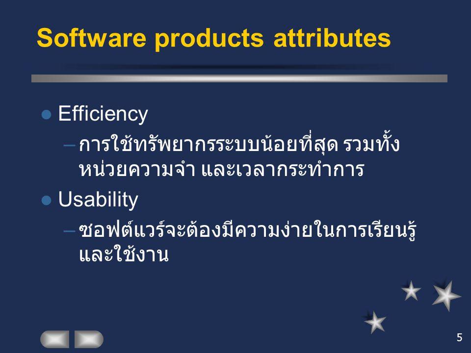 5 Efficiency – การใช้ทรัพยากรระบบน้อยที่สุด รวมทั้ง หน่วยความจำ และเวลากระทำการ Usability – ซอฟต์แวร์จะต้องมีความง่ายในการเรียนรู้ และใช้งาน Software